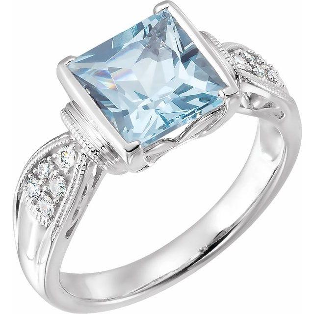 14K White Aquamarine & 1/8 CTW Diamond Ring Size 7