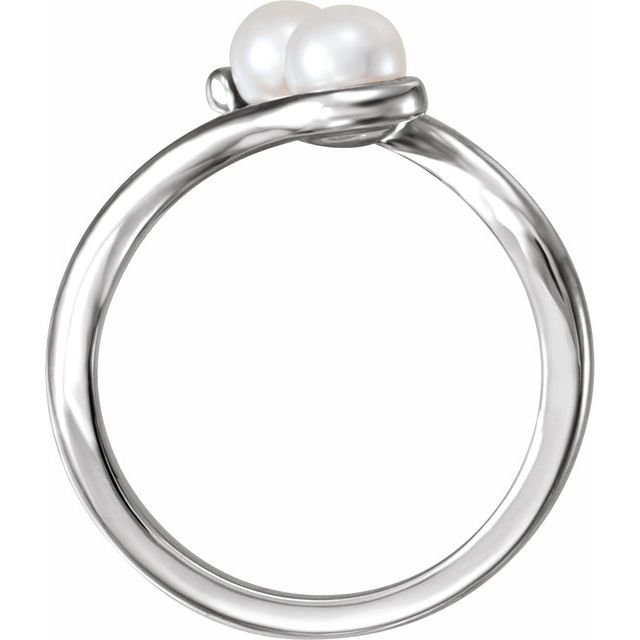 14K White Freshwater Cultured Pearl Two-Stone Ring
