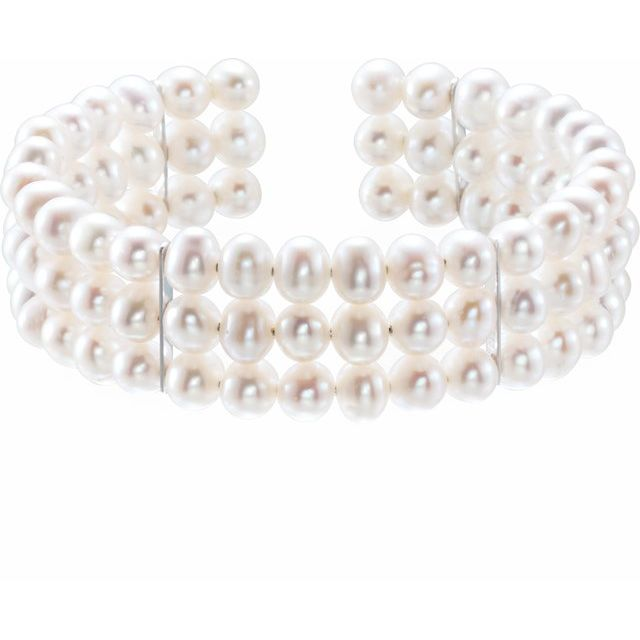 Sterling Silver Freshwater Cultured Pearl Cuff 7 1/2