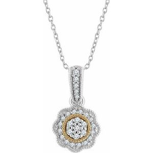 "14K White & Yellow 1/6 CTW Diamond Halo-Style 16-18"" Necklace"