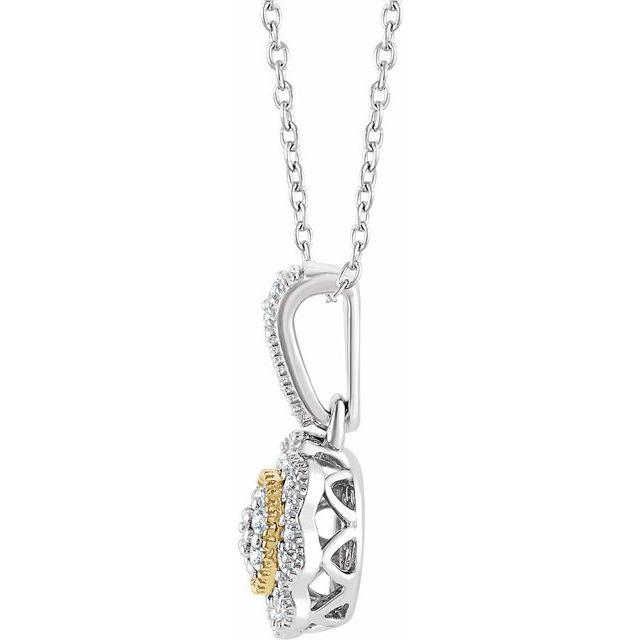 14K White & Yellow 1/6 CTW Diamond Halo-Style 16-18