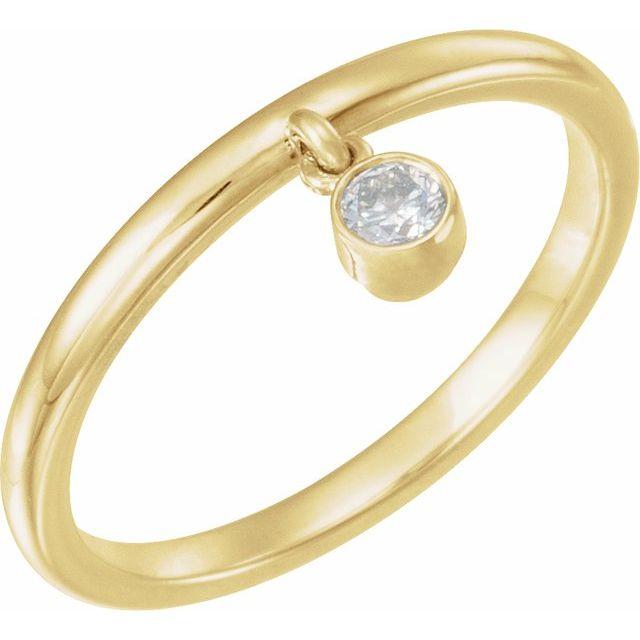 14K Yellow 1/10 CT Diamond Fringe Ring