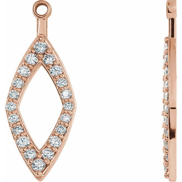 14K Rose 1/4 CTW Diamond Earring Jackets