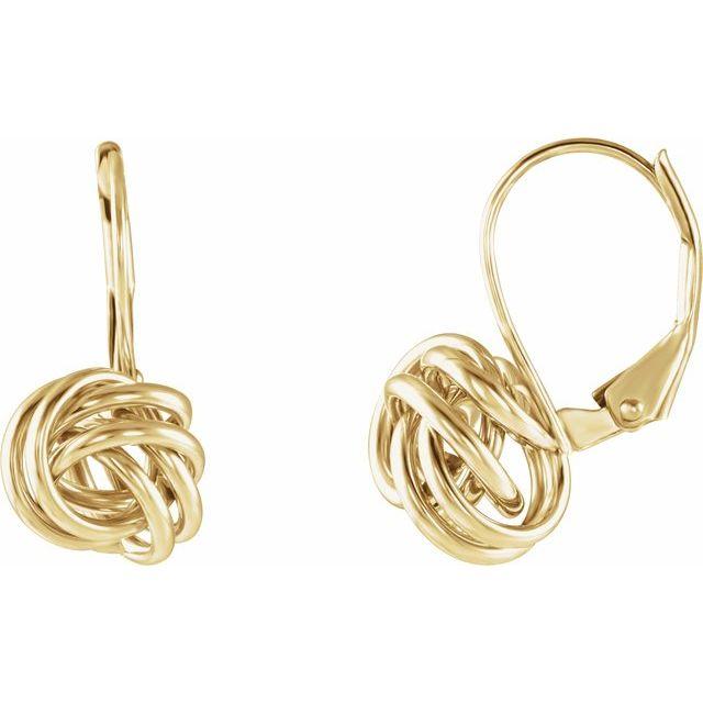 14K Yellow 10 mm Knot Lever Back Earrings