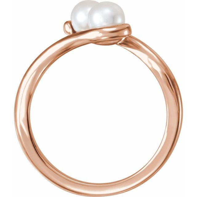 14K Rose Freshwater Cultured Pearl Two-Stone Ring