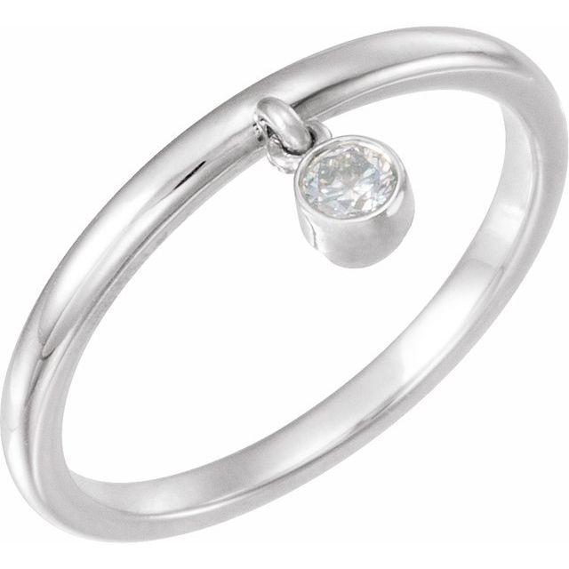 14K White 1/10 CT Diamond Fringe Ring