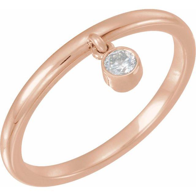 14K Rose 1/10 CT Diamond Fringe Ring