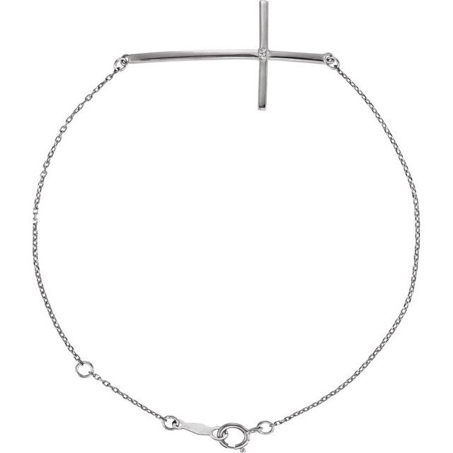 Sterling Silver Imitation Diamond Sideways Cross Bracelet