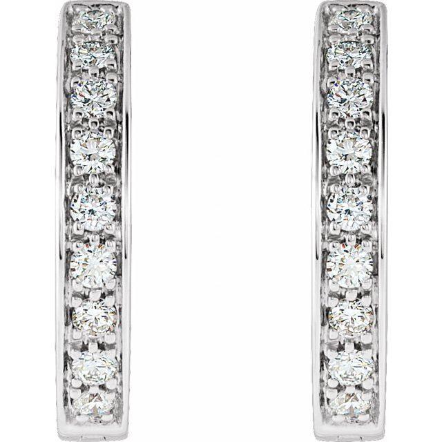 14K White 3/4 CTW Diamond Inside-Outside Hinged 18.5 mm Hoop Earrings