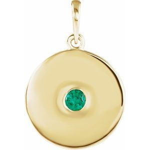 14K Yellow Emerald Disc Pendant