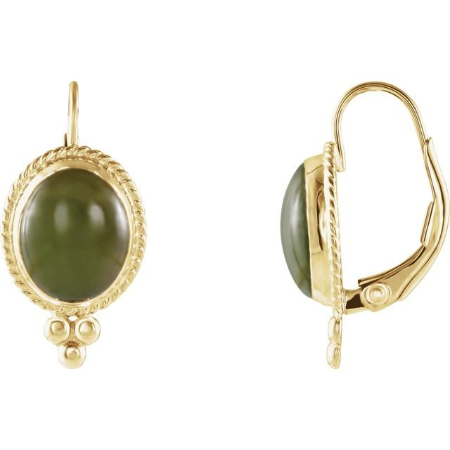 14K Yellow Natural Nephrite Jade Cabochon Earrings