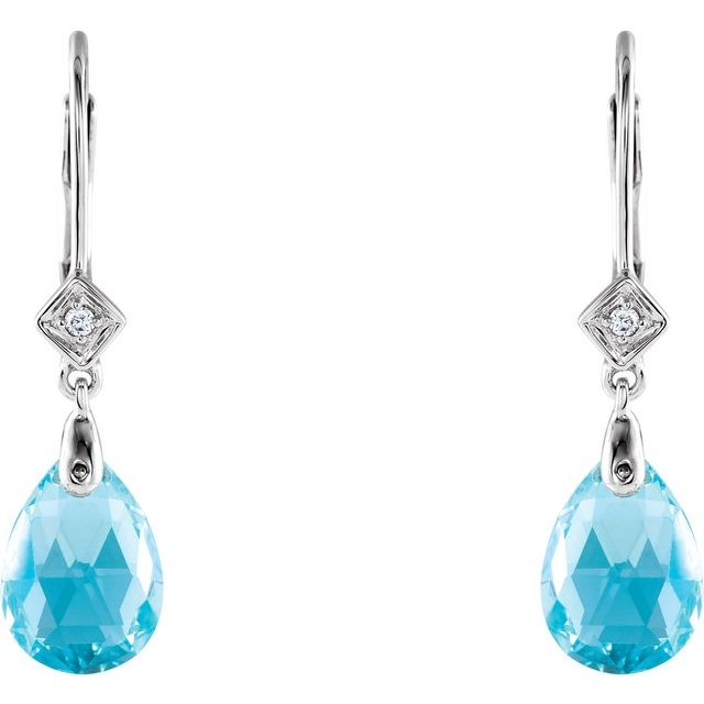 14K White Swiss Blue Topaz & .025 CTW Diamond Earrings