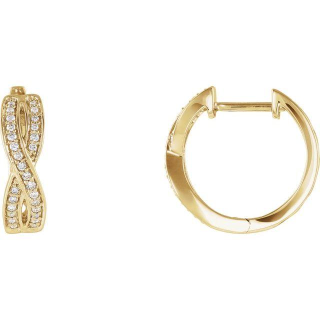 14K Yellow 1/5 CTW Diamond Infinity-Inspired Hoop Earrings
