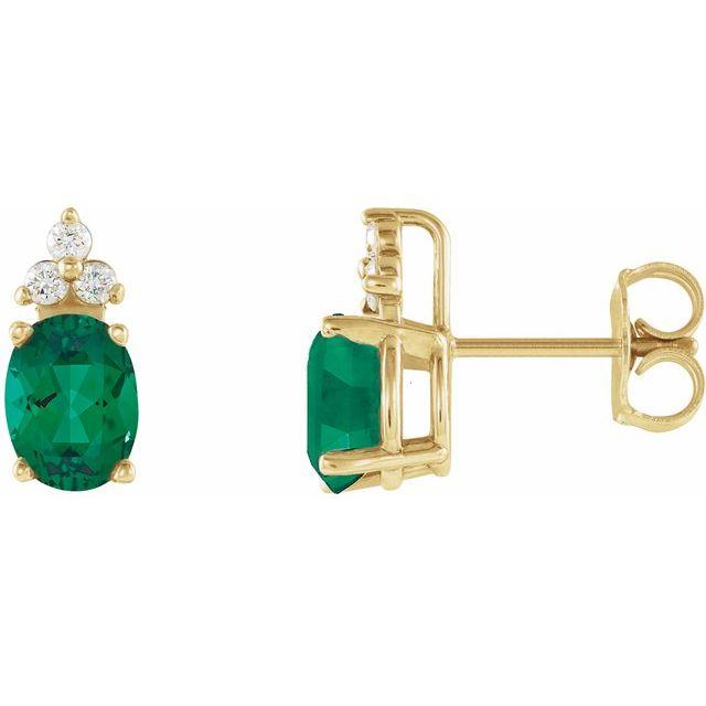 Emerald & Diamond Accented Earrings