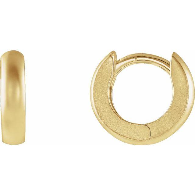 14K Yellow 9.5 mm Hinged Huggie Hoop Earrings