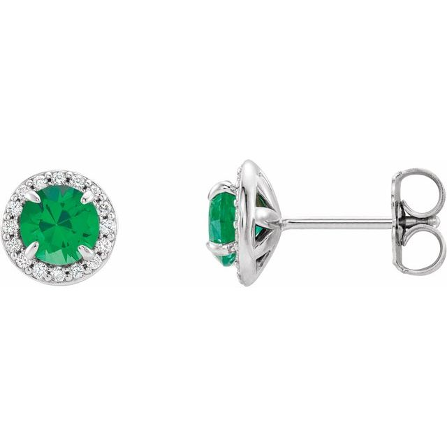 14K White 5 mm Round Chatham® Lab-Created Emerald & 1/8 CTW Diamond Earrings