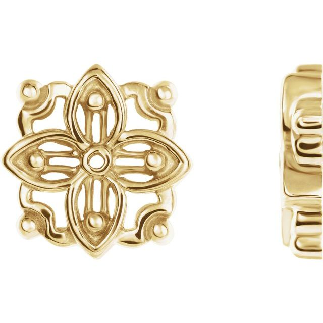 14K Yellow 12.75x12.75 mm Floral-Inspired Earring Jacket