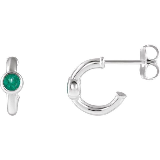 14K White Emerald Hoop Earrings