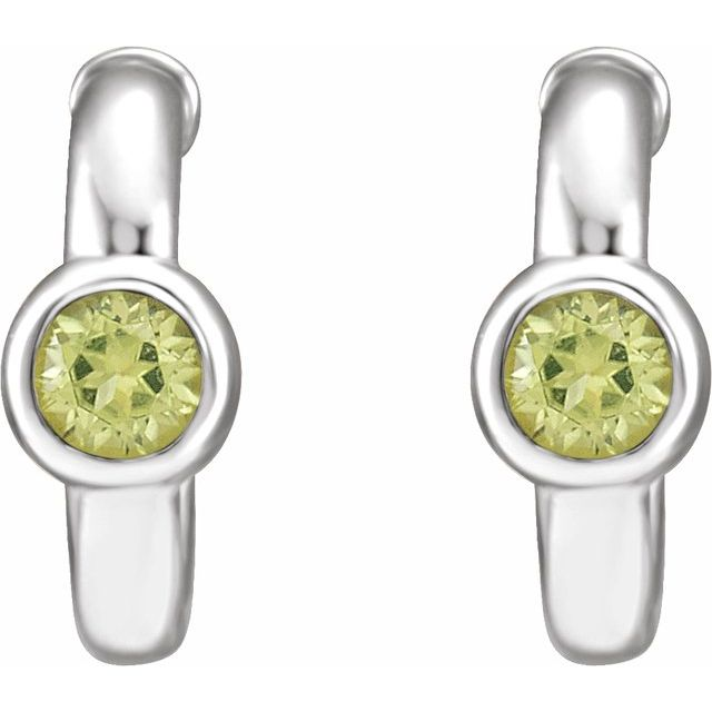 14K White Peridot Hoop Earrings