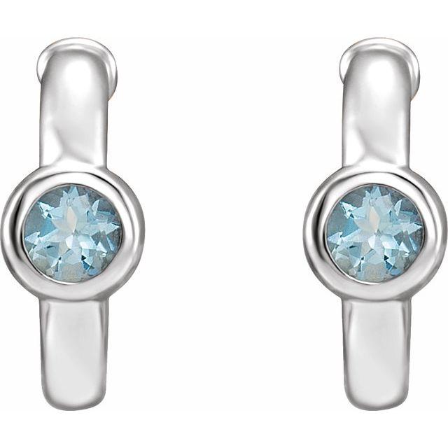 14K White Aquamarine Hoop Earrings