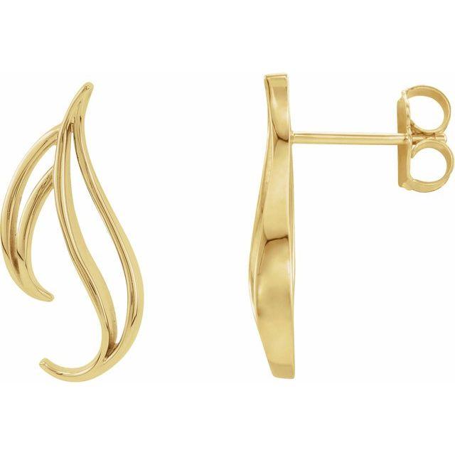 14K White Freeform Earrings