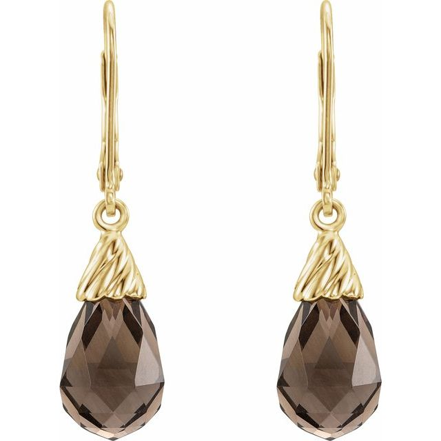 14K Yellow Smoky Quartz Briolette Lever Back Earrings