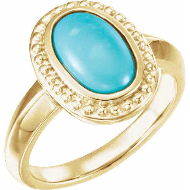 Beaded Cabochon Ring