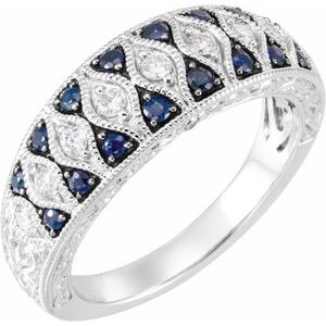 Blue Sapphire & Diamond Granulated Design Ring