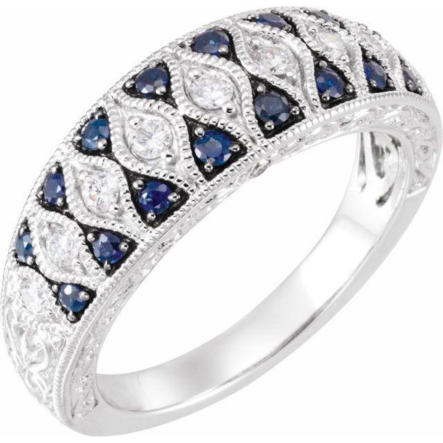 Blue Sapphire & Diamond Granulated Design Ring