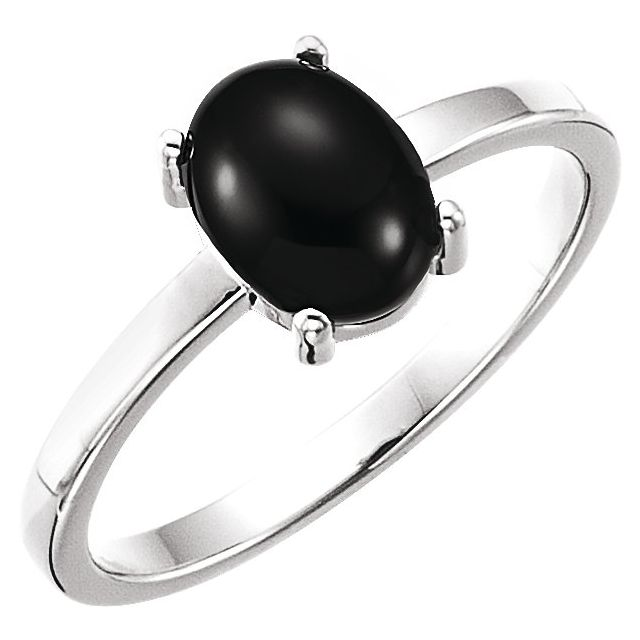 14K White 8x6 mm Oval Onyx Cabochon Ring