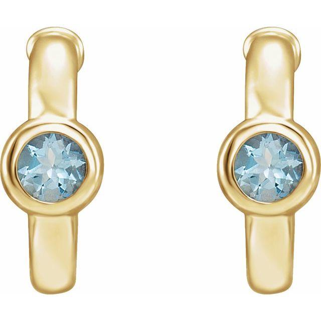 14K Yellow Aquamarine Hoop Earrings