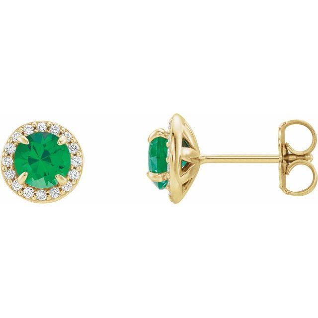 14K Yellow 5 mm Round Emerald & 1/8 CTW Diamond Earrings
