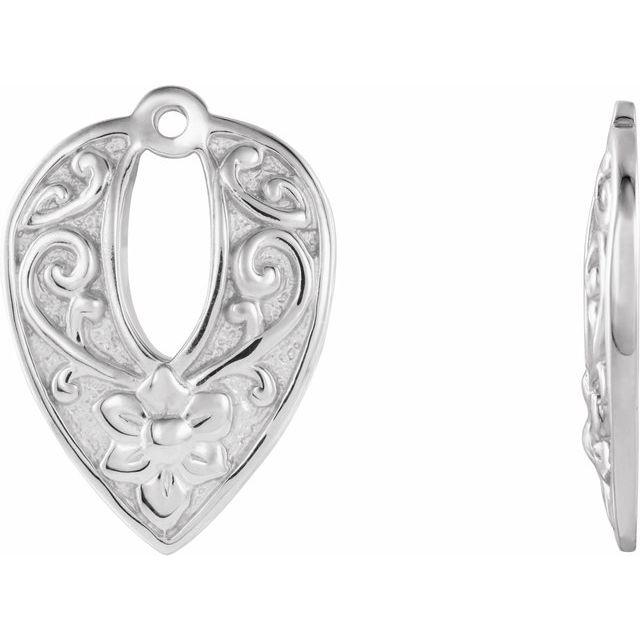 14K White Floral-Inspired Earring Jackets