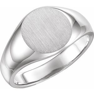 14K White 13 mm Round Signet Ring