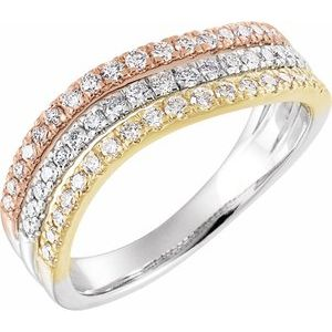 14K Tri-Color 1/2 CTW Diamond Stacked Ring