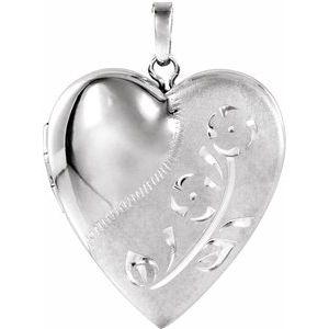 Sterling Silver Design-Engraved Heart Locket