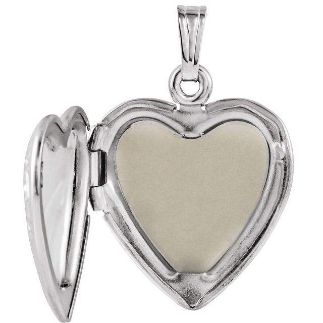 Sterling Silver 27x18.7 mm Mom Heart Locket with Rose
