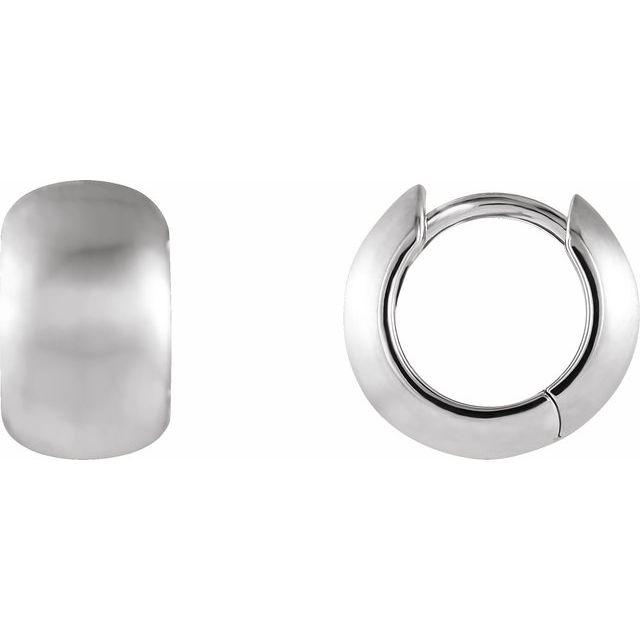 14K White 11.5 mm Hinged Earrings