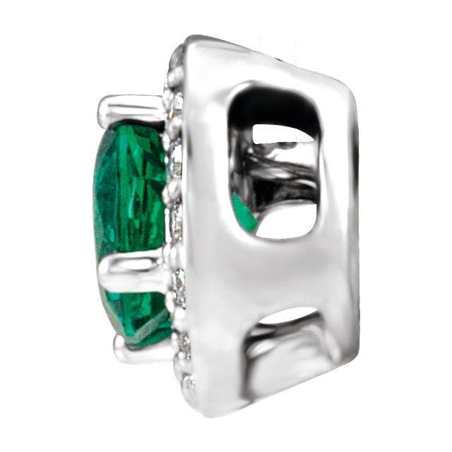 14K White Chatham® Created Emerald & .08 CTW Diamond Pendant