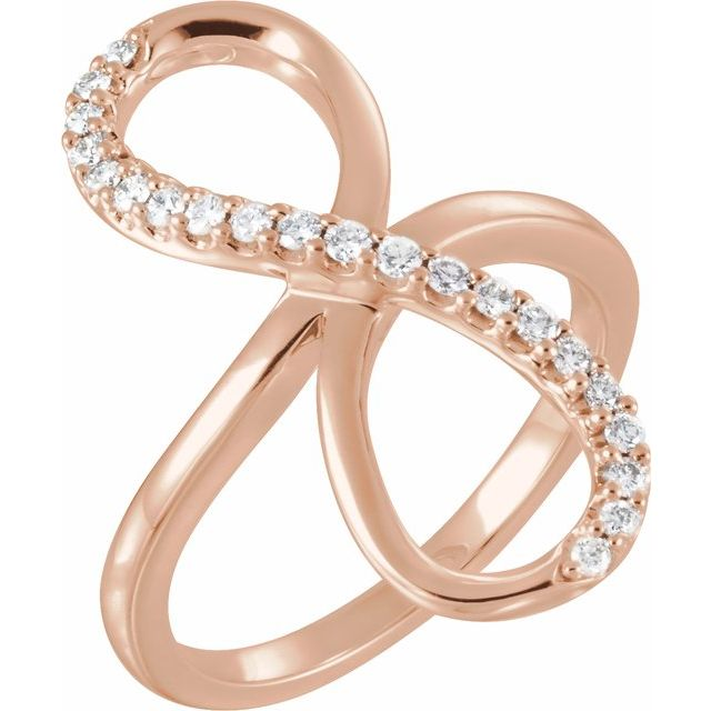 14K Rose 1/4 CTW Diamond Infinity-Inspired Ring