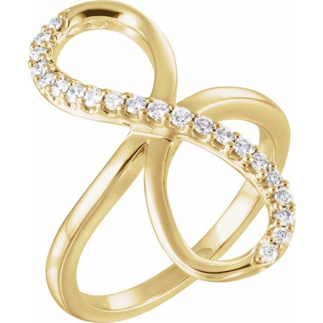 14K Yellow 1/4 CTW Diamond Infinity-Inspired Ring