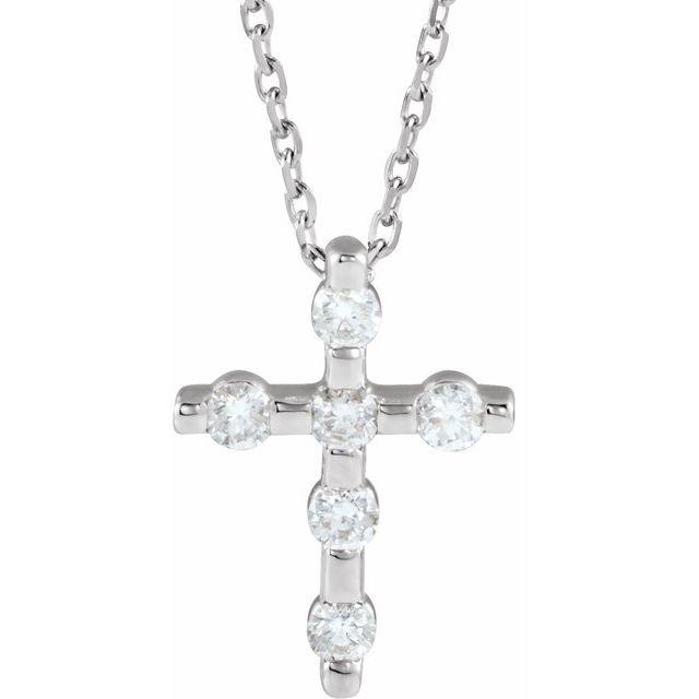 14K White 1/5 CTW Diamond Cross 16-18