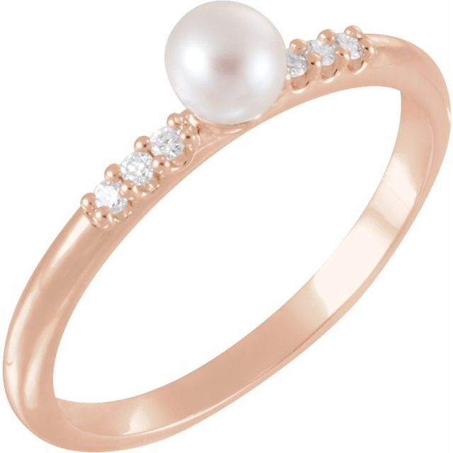 14K Rose Cultured White Freshwater Pearl & .05 CTW Natural Diamond Ring