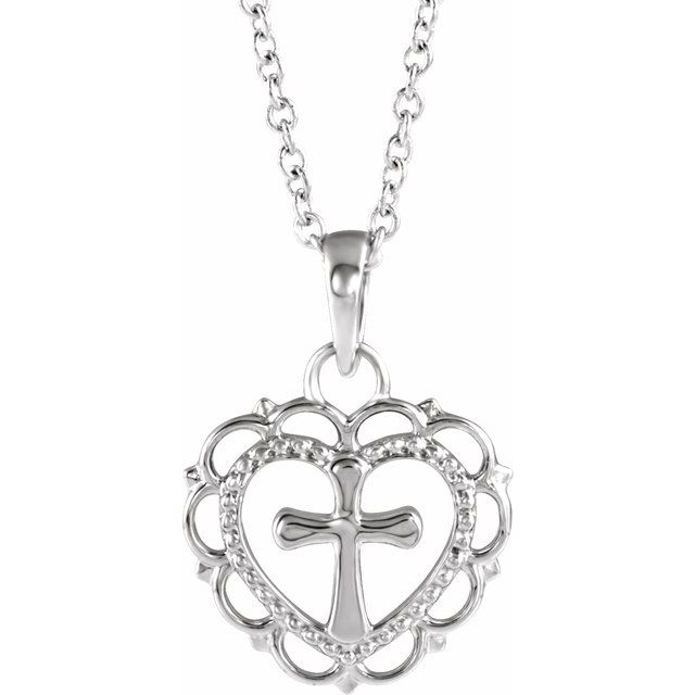 Sterling Silver Youth Heart with Cross 16-18