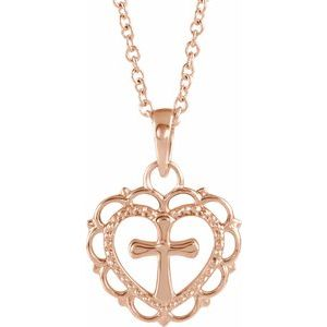 "14K Rose Youth Heart with Cross 16-18"" Necklace"