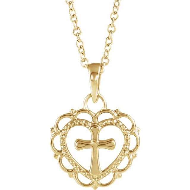 14K Yellow Youth Heart with Cross 16-18