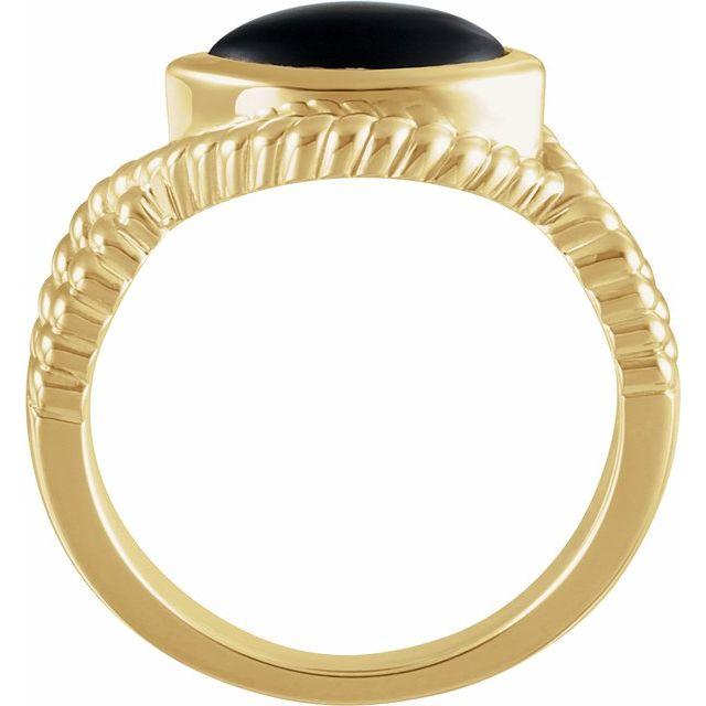 14K Yellow Onyx Bezel-Set Rope Ring