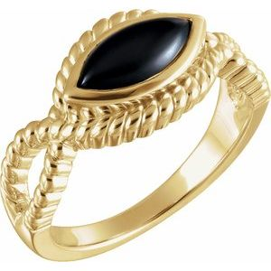 14K Yellow Onyx Bezel-Set Rope Ring