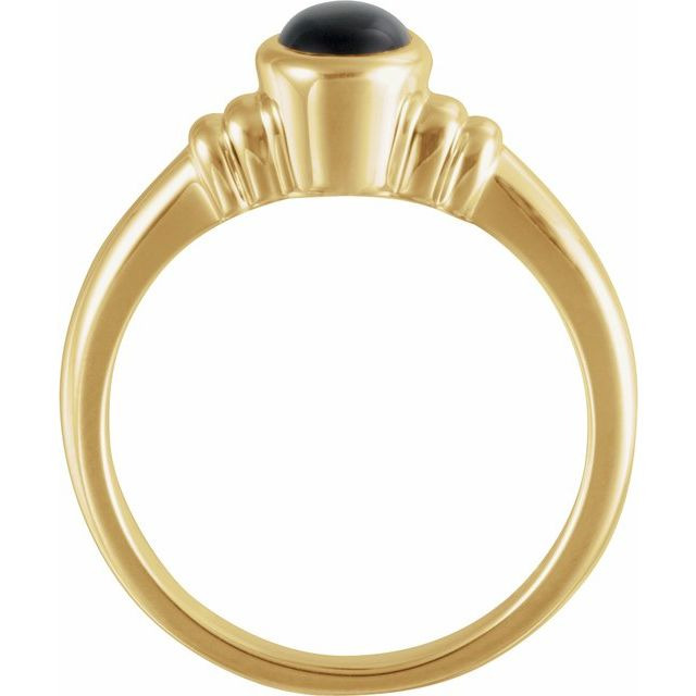 14K Yellow Onyx Bezel-Set Ring