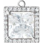 Square 4-Prong Halo-Style Dangle